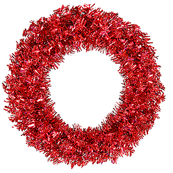 30 Inch Red Wide Cut Wreath 70 Red Lights