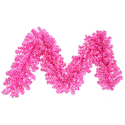 9 Foot Hot Pink Wide Cut Garland 70 Pink Lights