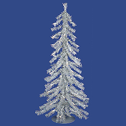 2 Foot Silver Artificial Christmas Tree 35 Clear Lights Box of 2