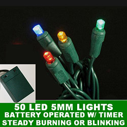 50 Battery Operated 5MM Polka Dot LED Multi Lights With Lamp Locks Green Wire
