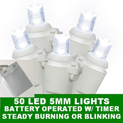 50 Battery 5MM Polka Dot LED Cool White Christmas Light Set Lamp Locks White Wire