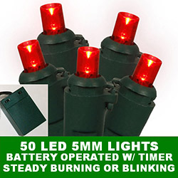 50 Battery Operated 5MM Polka Dot LED Red Lights With Lamp Locks Green Wire