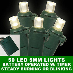 50 Battery 5MM Polka Dot LED Warm White Christmas Light Set with Lamp Locks Green Wire
