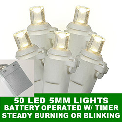 50 Battery 5MM Polka Dot LED Warm White Christmas Light Set with Lamp Locks White Wire