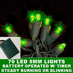 70 Battery Operated 5MM Polka Dot LED Green Lights With Lamp Locks Green Wire