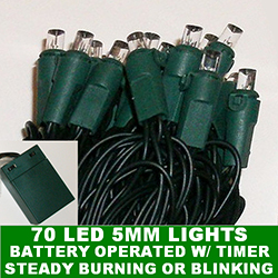 70 Battery Operated 5MM LED Cool White Lights Lamp Locks Green Wire