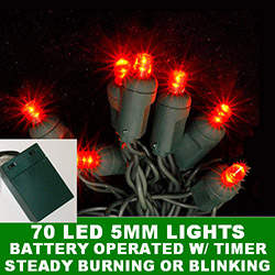 70 Battery Operated 5MM Polka Dot LED Red Lights With Lamp Locks Green Wire