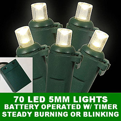 70 Battery Operated 5MM LED Warm White Lights Lamp Locks Green Wire