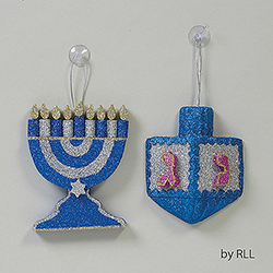 2 Piece Large Draydel And Chanukah Menorah Glitter Decorations Box of 6