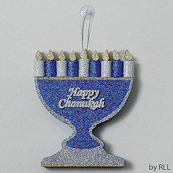 Large Chanukah Menorah Glitter Decoration Box of 6