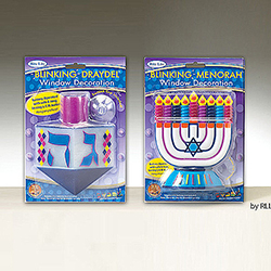 Blinking Chanukah Menorah Draydel Window Decorations Box of 6