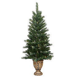 4 Foot Mixed Potted Artificial Christmas Tree 100 LED Warm White Lights