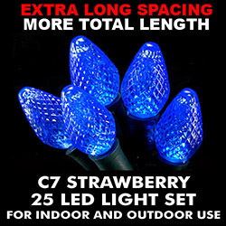 25 Extra Long Commercial Grade C7 LED Blue Lights - Green Wire