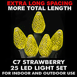 25 Commercial Grade LED C7 Gold Christmas Lights Green Wire