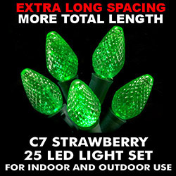 25 Extra Long Commercial Grade C7 LED Green Christmas Light Set with Green Wire
