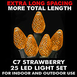 25 Commercial Grade LED C7 Orange Christmas Light Set with Green Wire