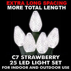 25 Extra Long Commercial Grade C7 LED Pure White Lights Green Wire