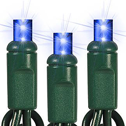 25 Commercial Grade LED 5MM Blue Christmas Lights Green Wire