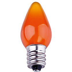 25 Smooth C7 LED Frosted Orange Retrofit Replacement Bulbs C7 Base