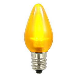 25 Smooth C7 LED Frosted Yellow Retrofit Replacement Bulbs C7 Base