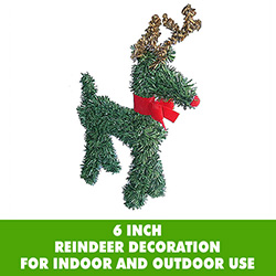 6 Inch Reindeer Ornament With Red Bow