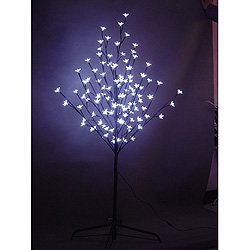6 Foot Pure White Cherry Tree 108 LED Lights
