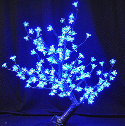 28 Inch Cherry Blossom Tree 168 LED Blue Lights Black Wire