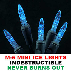 25 Commercial Grade LED M5 Extra Long Blue Christmas Lights Green Wire
