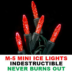 25 Commercial Grade LED M5 Extra Long Red Christmas Lights Green Wire