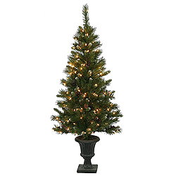 5 Foot Ashberry Potted Artificial Christmas Tree - 150 Clear Lights