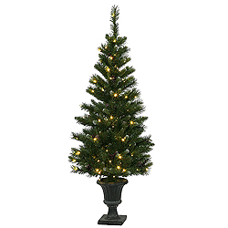 5 Foot Ashberry Potted Artificial Christmas Tree 120 LED Warm White Lights