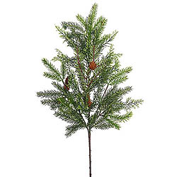 28 Inch Cedar White Spruce Spray With Pine Cones