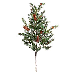28 Inch White Spruce Spray With Pine Cones