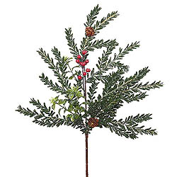 18 Inch Frosted Hemlock Boxwood Berry Spray