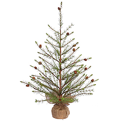 3 Foot Missoula Pine Artificial Christmas Tree With Cones - Unlit - Burlap Base