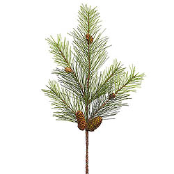 24 Inch White Pine Spray With Pine Cones
