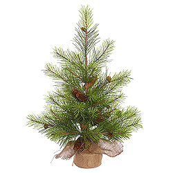 2.5 Foot White Pine Artificial Christmas Tree With Pine Cones - Unlit - Burlap Base