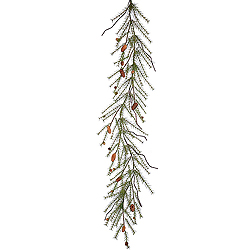 6 Foot River Pine Garland With Cones