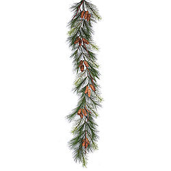 6 Foot Bavarian Pine Garland With Pine Cones