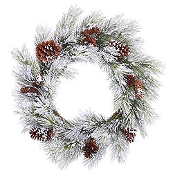 28 Inch Flocked Ashville Pine Wreath