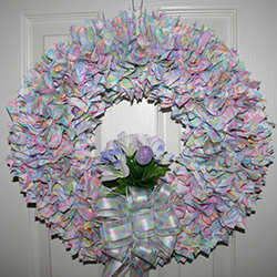 24 Inch Fabric Wreath Easter Decorations with Eggs
