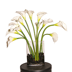 Natural Touch White Calla Lillies in an oval glass vase
