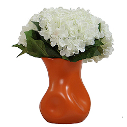 White Hydrangea In Orange Vase