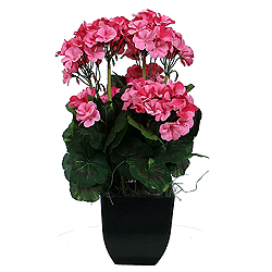 Pink Geranium Artificial Plant Decorative Black Pot