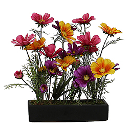 Wild Coreopsis Artificial Floral Arrangement Black Tray