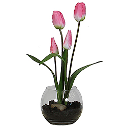Pink Tulip Artificial Floral Arrangement Glass Bowl with Faux Soil