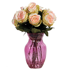 15 Inch Pink Rose Arrangement In Pink Vase