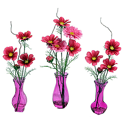 Hot Pink Artificial Floral Arrangement 3 Assorted