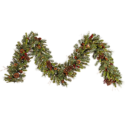 9 Foot Cibola Mix Berry Garland 100 Clear Lights