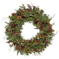 30 Inch Cibola Mix Berry Wreath 50 DuraLit Clear Lights